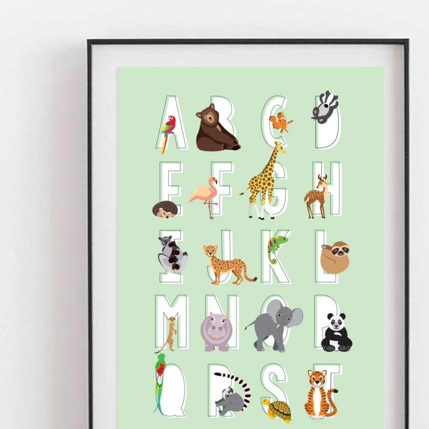 alfabet poster dieren abc mint ontwerp door lindy