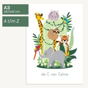 gepersonaliseerde poster baby kind jungledieren kinderkamer babykamer jungle dieren A3