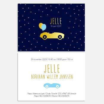 geboortekaartje goudfolie auto autootje donkerblauw stippen jongen