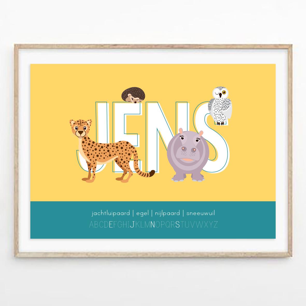 gepersonaliseerde poster dieren met letter geel ontwerp door lindy