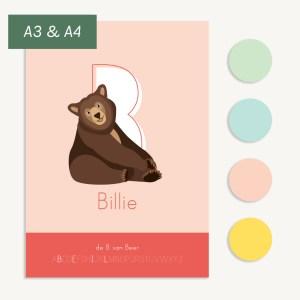 gepersonaliseerde poster letterposter beer roze ontwerp door lindy