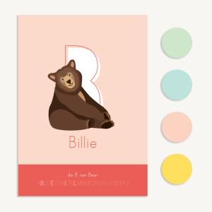 gepersonaliseerde letterposter dieren kind
