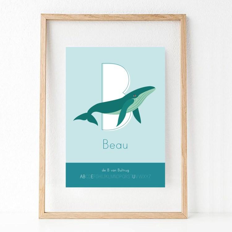 gepersonaliseerde poster letterposter walvis beau ontwerp door lindy