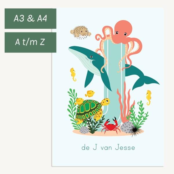 gepersonaliseerde poster dieren zee oceaandieren kind