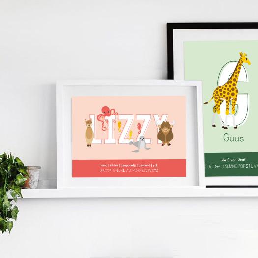 Gepersonaliseerde persoonlijke poster: naamposter en letterposter ontwerp door lindy baby kind