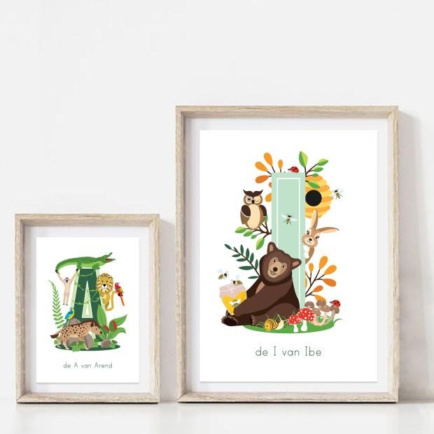 gepersonaliseerde persoonlijke poster letterposter bosdieren jungledieren kind