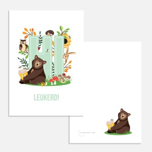 ansichtkaartje bosdieren hi leukerd kind verjaardag