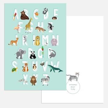 abc alfabet ansichtkaart kaartje in blauw A5 formaat