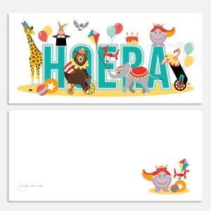 ansichtkaartje 21x10 circus dieren ontwerp door lindy
