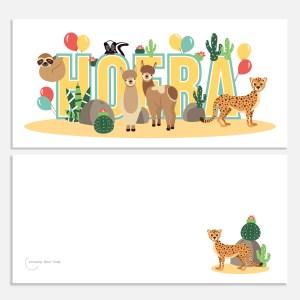 ansichtkaartje 21x10 woestijndieren ontwerp door lindy