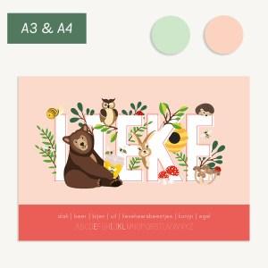 gepersonaliseerde naam poster bosdieren kinderkamer baby