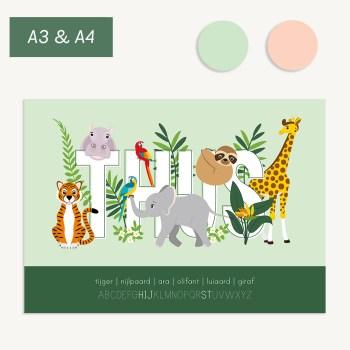 gepersonaliseerde poster met lieve jungledieren voor baby en kind