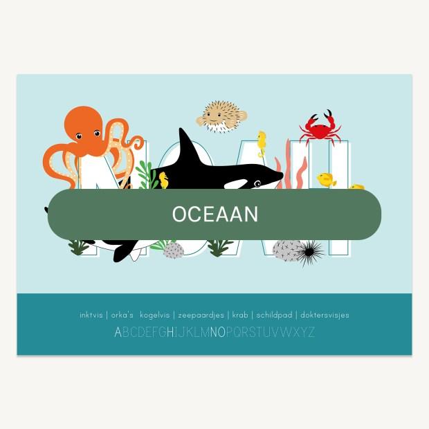 persoonlijke naamposter oceaandieren kinderkamer