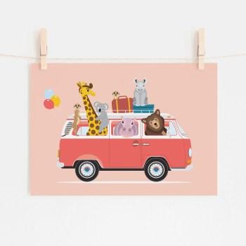 poster volkswagen vw busje dieren roze ontwerp door lindy 2021