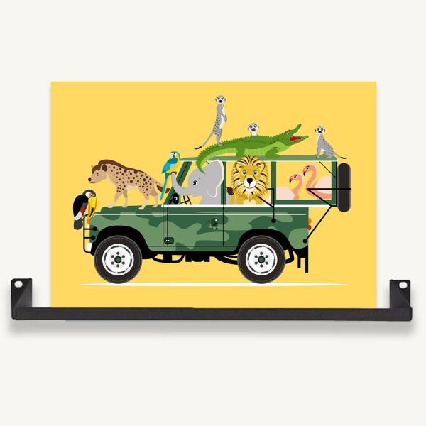 jeep safari geel ontwerp door lindy ingelijst
