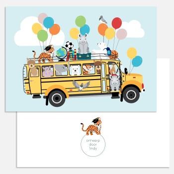 kaart schoolbus dieren ballonnen a5 ontwerp door lindy