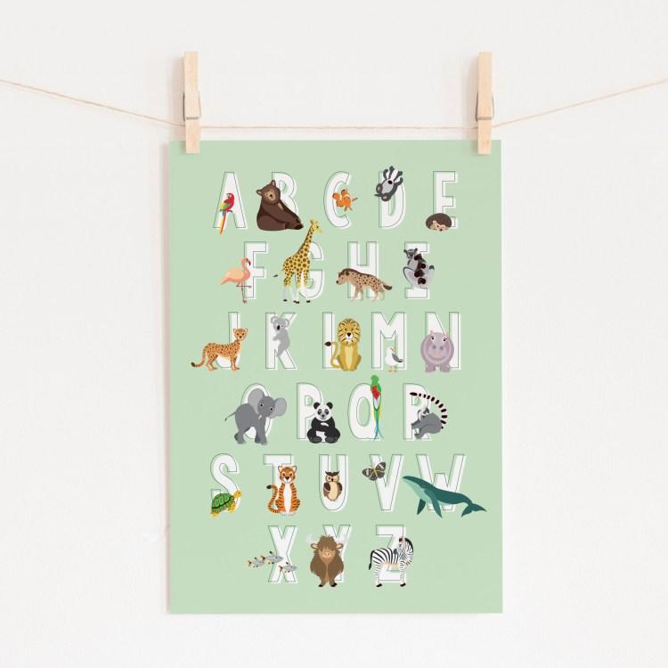 poster abc alfabet dieren mint groen ontwerp door lindy 2021