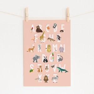 poster abc alfabet dieren roze ontwerp door lindy 2021