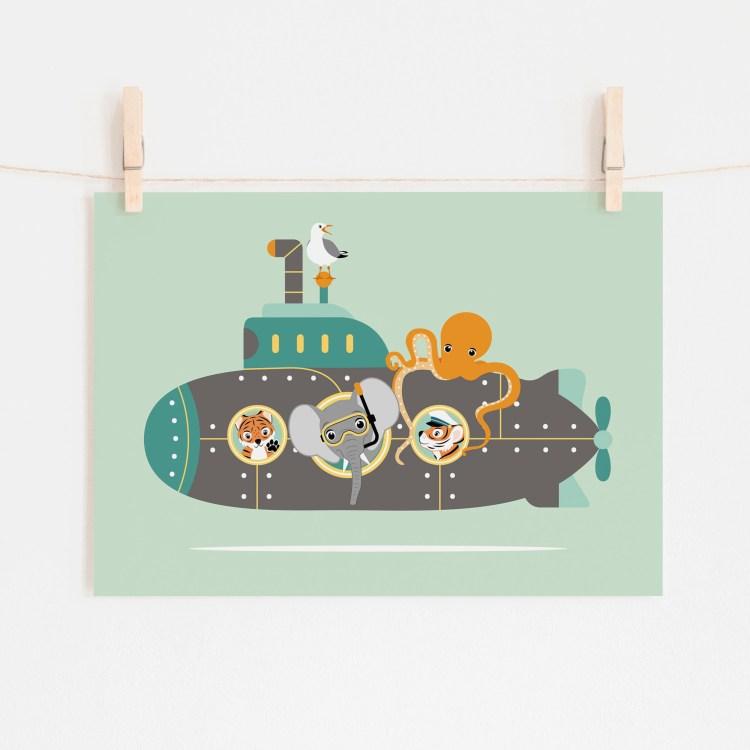 poster duikboot dieren zee mint groen ontwerp door lindy 2021