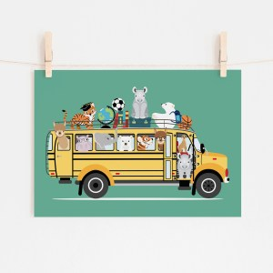 poster schoolbus dieren turqoise ontwerp door lindy 2021