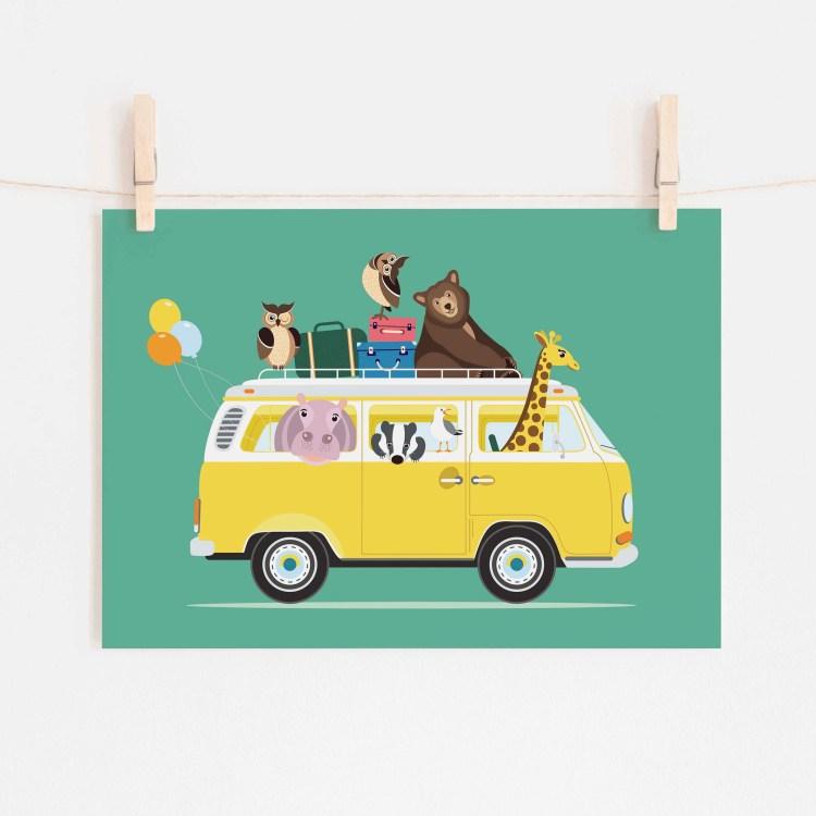 poster volkswagen vw busje dieren turquoise ontwerp door lindy 2021