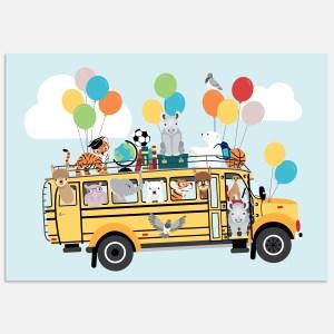 schoolbus ballonnen a3 a4 ontwerp door lindy