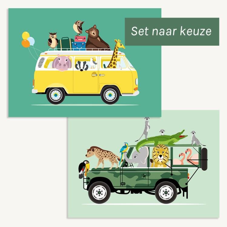 set van 2 posters dieren voertuigen ontwerp door lindy