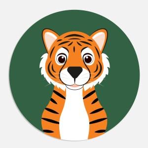 Sluitsticker tijger ontwerp door lindy donkergroen