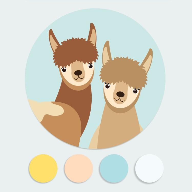 Sluitstickers alpaca lama ontwerp door lindy