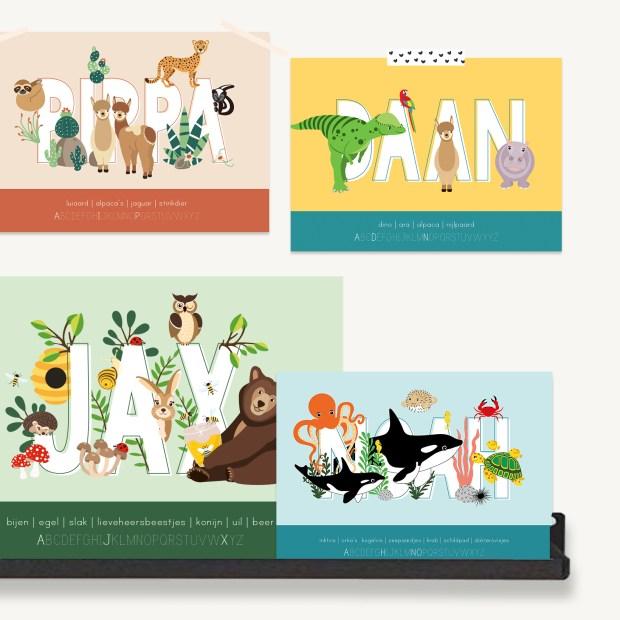 gepersonaliseerde persoonlijke poster dieren kind ontwerp door lindy 2021