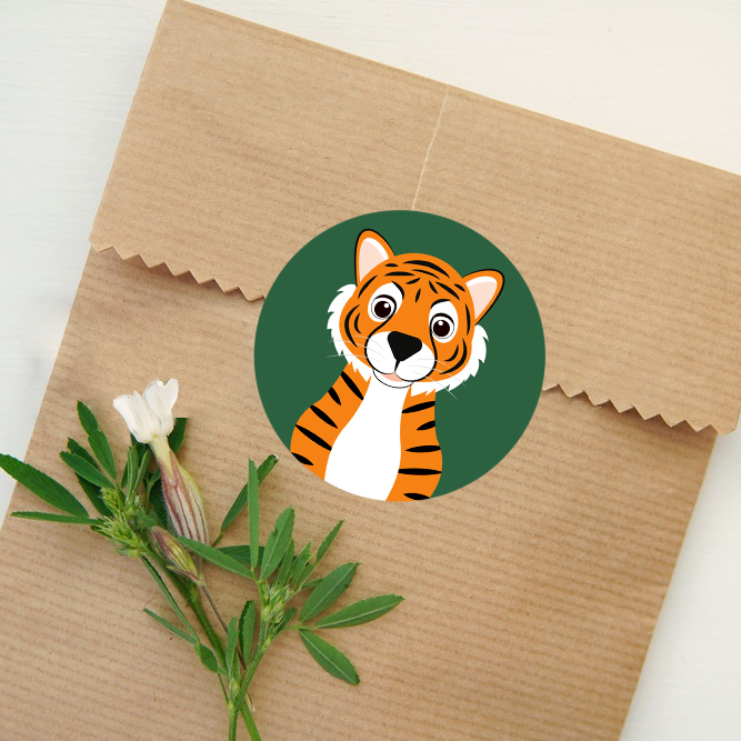 tijger sluitsticker sticker rond kind ontwerp door lindy