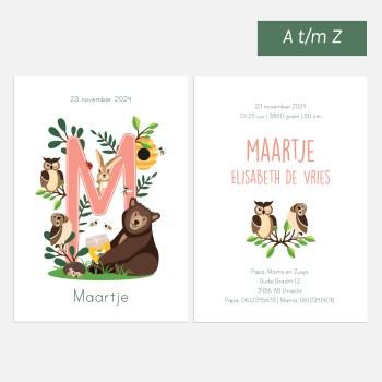 Geboortekaartje bosdieren letter roze ontwerp door lindy 2021