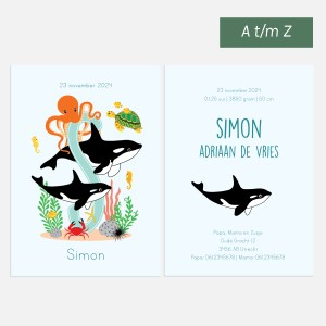 Geboortekaartje oceaan dieren orka letter ontwerp door lindy 2021