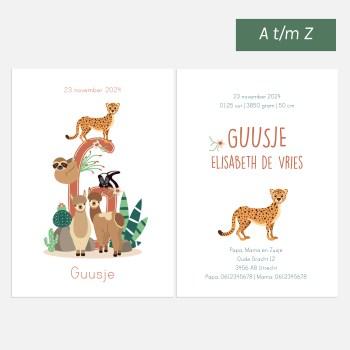 Geboortekaartje woestijn dieren letter ontwerp door lindy 2021