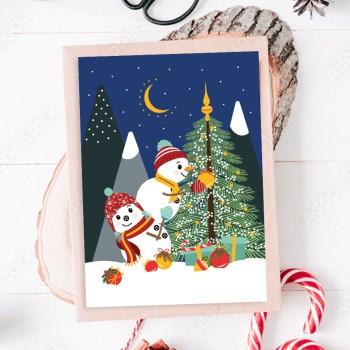 Kerstkaart sneeuwpop kerstboom ontwerp door lindy 2021 sfeer2