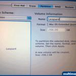 Name kısmına Leopard yazıp Format seçeneğini Mac Os X Journaled olarak seçiyoruz.