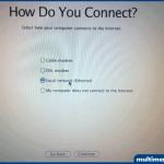 Internete nasıl bağlanıyorsunuz. Bu aşamada Ethernet'i seçin.