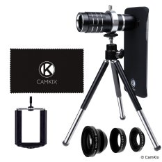 Phone holder with multiple lenses and tripod for smartphone photography