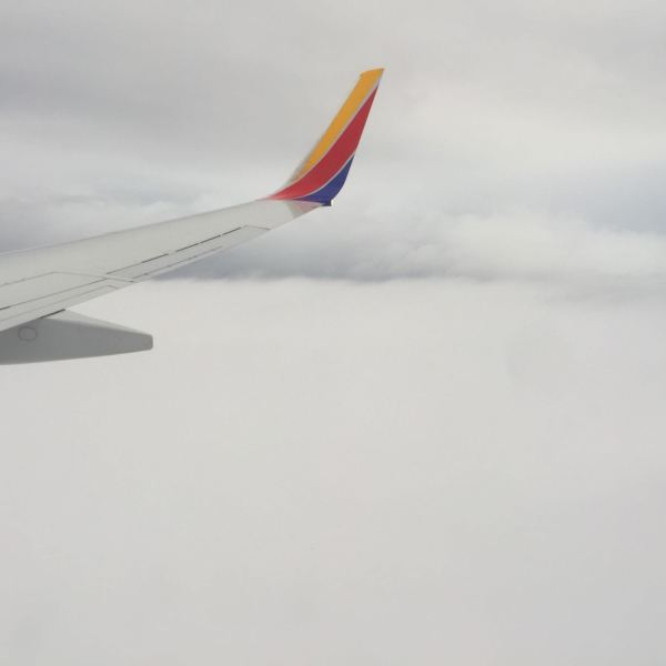 Flying back to LGA after CES with the wing tip in the clouds