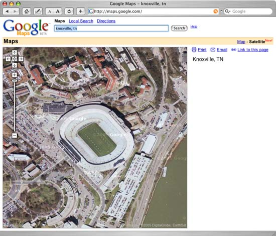 Google Map View of University of Tennessee Football Stadium