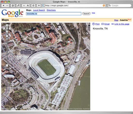 Google Map View of University of Tennessee Football Stadium