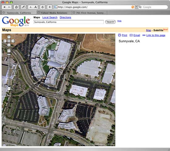 Google Map View of Yahoo!