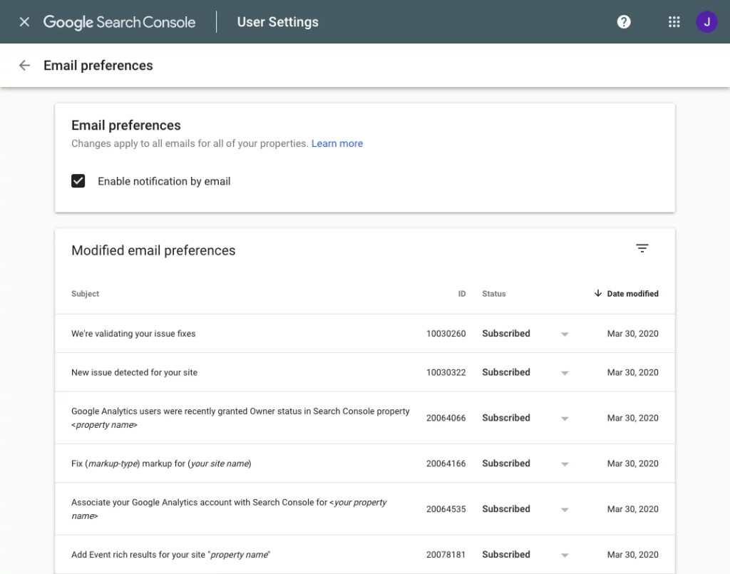 Google Search Console Email Preferences