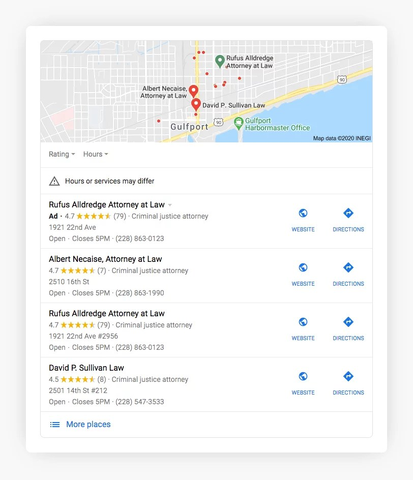 Google My Business Data in Local Pack Ads