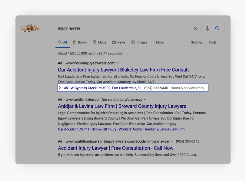 Google My Business Data showing up as part of ads in Google Search