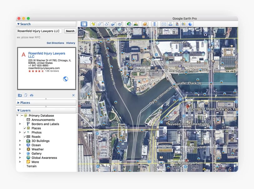 GMB data showing up in the Google Earth application