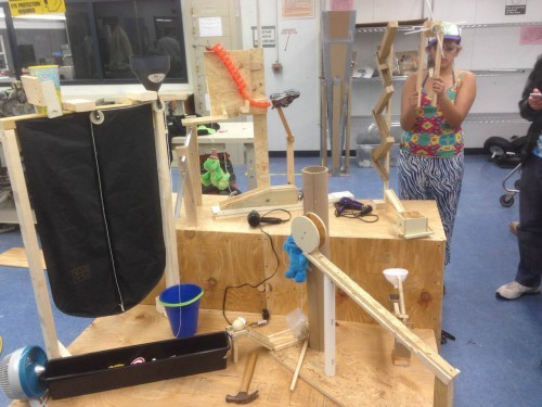 The machine, shown here in its early stages of design, was built by a team of 15 members.