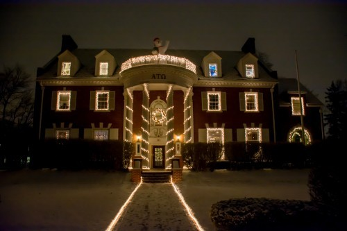 Alpha Tau Omega is a strong competitor this year, with a beautiful ornate wreath hung above their door.