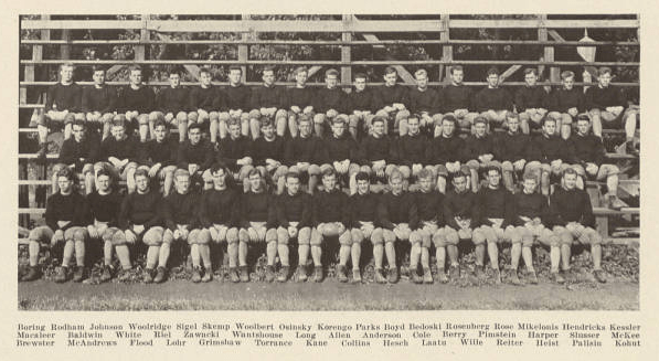 The 1932-1933 Nittany Lions Football Team Hugh Rodham is second from the left in the back row. Photo: Penn State Archives