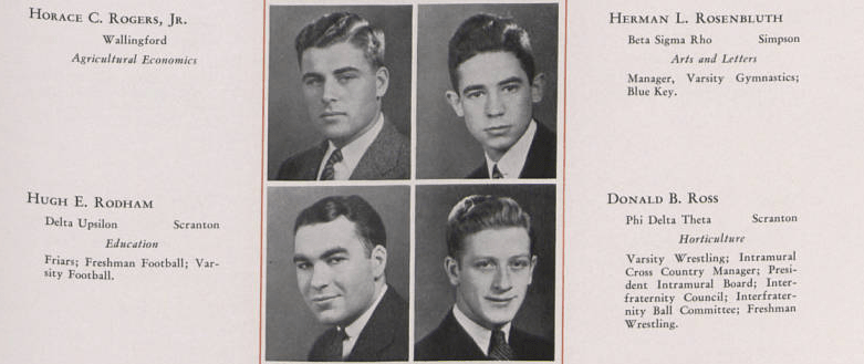 Hugh Rodham's 1935 La Vie Yearbook Picture Rodham's picture is the bottom left. Photo: Penn State Archives